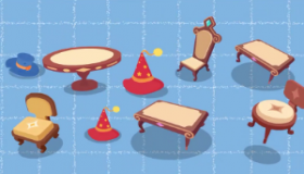 table,chair,hat