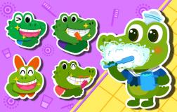 鳄鱼一家来刷牙