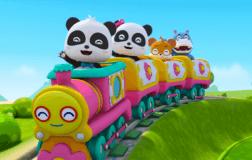 游乐园小火车轮子转呀转